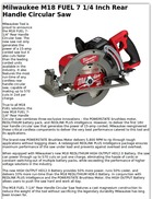 Milwaukee M18 FUEL 7 1/4 Inch Rear Handle Circular Saw