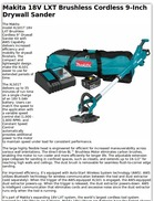 Makita 18V LXT Brushless Cordless 9-Inch Drywall Sander