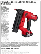 Milwaukee 2746-21CT M18 FUEL 18ga Brad Nailer