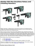 Metabo SDS-Max Brushless Rotary and Chiseling Hammers