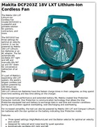 Makita DCF203Z 18V LXT Lithium-Ion Cordless Fan