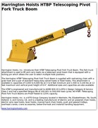 Harrington Hoists HTBP Telescoping Pivot Fork Truck Boom