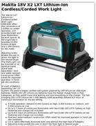 Makita 18V X2 LXT Lithium Ion Cordless/Corded Work Light