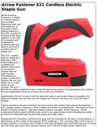 Arrow Fastener E21 Cordless Electric Staple Gun