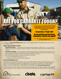 Carhartt is launching a campaign to find the toughest workers in North America as part of its new partnership with Cintas workwear rentals.