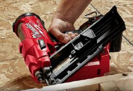 Milwaukee's FUEL 21- and 30-degree framing nailers can sink nails into engineered lumber and fire up to three nails per second