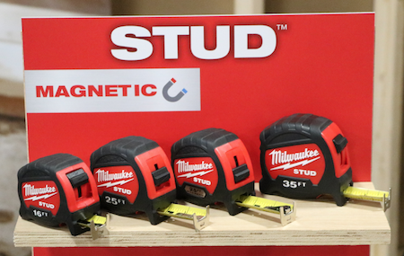STUD tape measures and STUD magnetic tape measures with up to 14 feet of standout and EXO360 Blade Technology which Milwaukee says makes them the longest-lasting blades that are both rip and wear resistant.