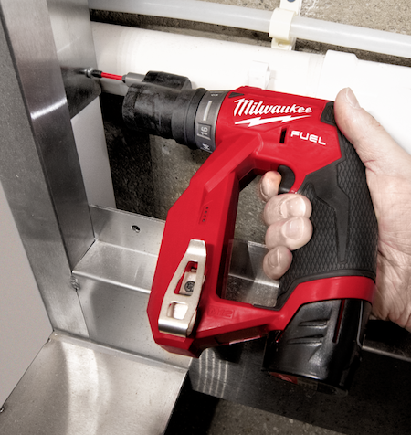 The compact Milwaukee M12 FUEL Installation Drill/Driver has four dedicated chucks for maximum versatility and tight-space reach and ample power — up to 300 inch-pounds of torque.