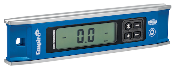 Empire's model em105.9 Auto-Calibrated Torpedo Level has six measuring modes and an oversized display for easy reading.