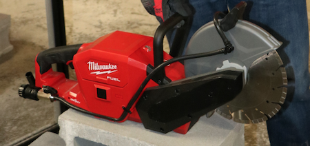The M18 FUEL 9-inch Cut Off Saw with ONE-KEY cuts reinforced concrete, all common metals and weighs one-half the weight of most gas cut off saws.