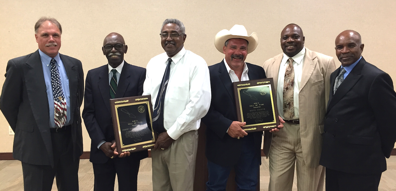 Steven Fechino (third from the right) was inducted into the National Masonry Instructors Association (NMIA) Hall of Fame as the Industry Member.