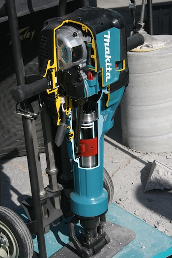 The new Makita HM1812 70-pound, 1 1/8-inch Hex AVT Breaker Hammer, features Makita's Anti-Vibration Technology, a system of three components all working together to drastically reduce vibrations.