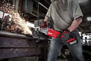 "The world's first 18V large angle grinder, the new Milwaukee M18 FUEL 7""/9"" Large Angle Grinder generates the power of a 15amp corded LAG, is up to 2 lbs lighter than the leading corded unit, and features a 9"" grinding capacity."