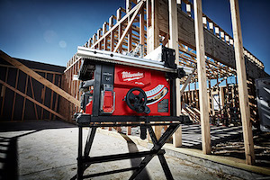 "The world's first 18V table saw, the Milwaukee M18 FUEL 8-1/4"" Table Saw w/ ONE-KEY generates the power of a 15amp corded saw and, with a rip capacity of up to 24-1/2"", can rip up to 600 linear feet per charge."