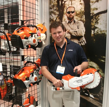 Stihl industrial product manager Dan Pherson was fielding a lot of interest in the smallest tool in the booth, Stihl's recently released TSA 230, a 36-volt, cordless, Lithium-ion powered cut-off machine.