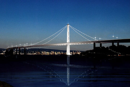 This artists' rendering shows the east span of the new Bay Bridge, which is expected to be completed in 2013 or 2014.