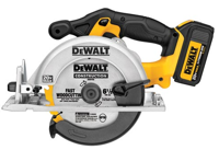 The new 20 Volt MAX Lithium Ion Circular Saw (DCS391L1 features a lightweight magnesium shoe, optimized handle design, a powerful 460 Max Watts Out (MWO) 3,700-rpm motor that is 10 percent more powerful than previous DEWALT 6-½ inch cordless circular saws.