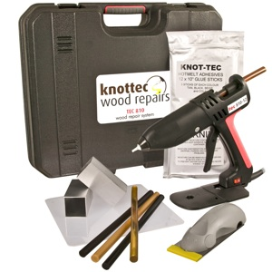 Knot tec wood repair starter kit contractor supply magazine for Wood floor knot filler