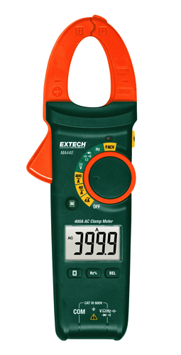 The Extech MA440 measures AC current up to 400A, DC and AC voltage up to 600 volts, resistance, capacitance and frequency.