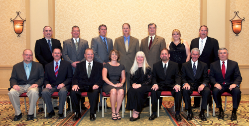 Top row (from left to right): Roger Allen, Kevin Warnecke, Kevin Baron, Tim Beckman, Steve Garrison, Donna Harris, Doug Walker (Past President) Bottom Row: Mike Orzechowski (Secretary/Treasurer), Jack Sondergard, Jim Dvoratchek (President), Kellie Vazquez, Judith O'Day (Vice President), Ty Conner, Patrick O'Brien (Executive Director), Larry Liddle.