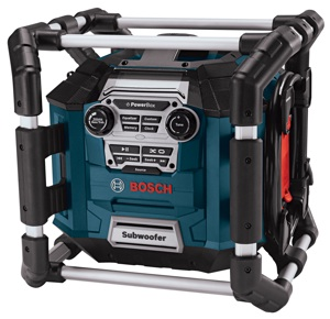The Bosch Power Box 360 S shown here will soon be joined by a more powerful big brother with a backlit display, SIRIUS radio port and remote control.