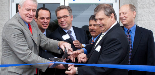 Attending the ribbon cutting ceremony on Pferd's new Milwaukee facility are (L-R) Milwaukee Mayor Tom Barrett, Jim Rueggeberg, CEO of August Rueggeberg GmbH & Co., Joern Bielenberg, CEO of August Rueggeberg GmbH & Co., Milwaukee District Nine Alderman Robert Puente, Sam Birel, VP of operations for Pferd Milwaukee Brush Co., and Gene Huegin, President of Pferd Milwaukee Brush Co.