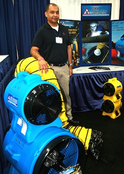 Attendees were drawn to the big, colorful job site ventilation products at Buhin Corporation's booth where company president Ricardo Davalos represented his Roselle, Illinois company.