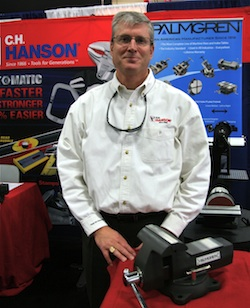 "Nearby, Phil Hanson of C.H. Hanson showed his company's hand tool line, but talked about another. ""We just acquired Palmgren Steel Products,"" he said."