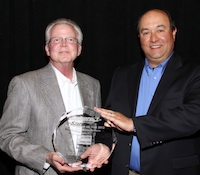 Simpson Strong-Tie's Kent Gilbert & Mike Clemente accept the Sphere 1 Vendor Partner of the Year award for 2012..