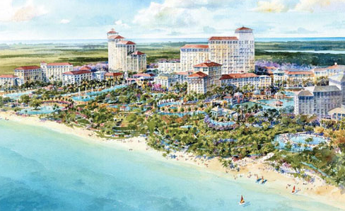 The 1,000-acre, $3.4 billion resort, gaming and entertainment complex, is due to open in late 2014 in Nassau, Bahamas. It will include some of the world's most famous hotel brands and will also have a total of 2,250 new rooms when completed.