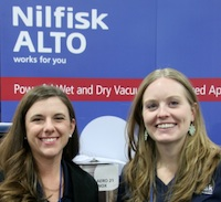 This year Nilfisk's Ashley Riley and Rachel Brutosky were showcasing the new Aero contractor grade systems.