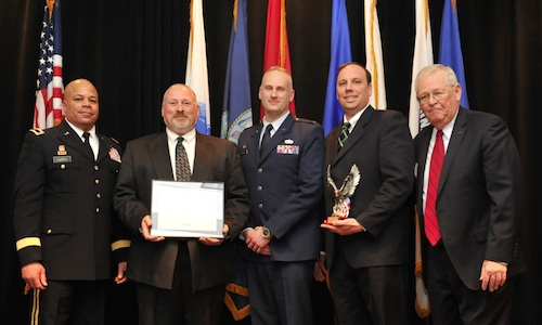 (Pictured from left to right: Brigadier General John Harris-Assistant Adjutant General for Army, Chuck Domonkos-CEO SC Fastening Sytems, 1LT Neil Domonkos-Operations Manager SC Fastening Systems, Scott Filips-President SC Fastening Systems, Steve Koper-Ohio ESGR State Chair)