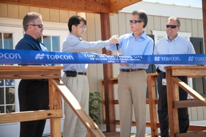 Topcon Positioning Systems (TPS) on April 27 officially opened Phase 1 of the renovation of the 12-acre acre training and test site and dedicated the new VIP Welcome Center. Pictured from left: Mark Contino, Mick Yamazaki, Ray O'Connor, Mark Bittner.