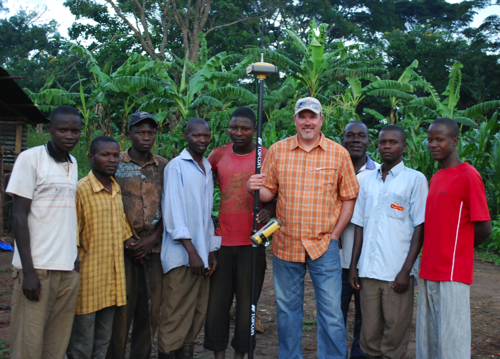 In spring 2011, Ryan Zweerink (center), president of Springfield, Mo.-based Ozark Laser and Shoring, visited several villages that Watoto Child Care Ministries is developing in Uganda to give orphaned children a better life. Zweerink and Ozark provided geospatial and surveying services and instruction.