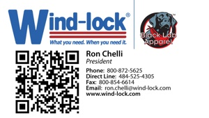 Wind-lock is now using Quick Response (QR) codes on the business cards of its sales representatives.