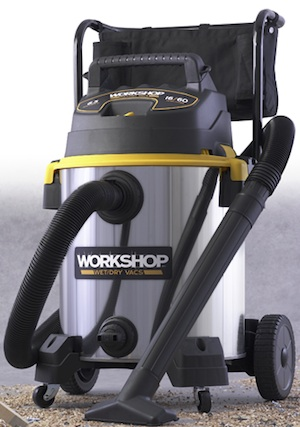 The Workshop Stainless Steel Cart Vac features 6.5 peak hp, a 16-gallon drum, 2.5-inch hose and accessories and a five-year limited warranty.