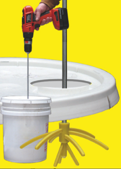 The Prazi StirWhip mixer handles liquids, paints, epoxies, glues, compounds and concrete.