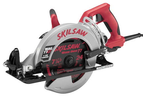 Somewhere above the show floor (in a suite on the convention center's floor) SKIL/Bosch showed off its update of the legenday SKIL worm drive circular saw, the new MAG77LT.