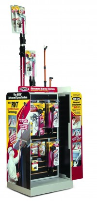 The new Hyde Tools merchandiser measures 23x27 inches and stands 55 inches tall.