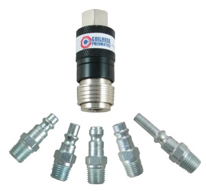 The Coilhose Pneumatics 5-In-1 Automatic Safety Exhaust Coupler is designed to remain connected to the plug until the downstream air is completely bled off.