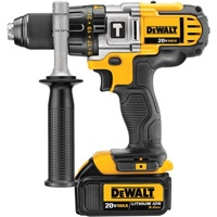DeWalt's new 20 Volt MAX Lithium Ion premium hammerdrill (DCD985L2, shown here) and premium drill/driver (DCD980L2) both feature three-speed (0-600, 0-1,250, and 0-2,000 rpm) all-metal transmissions, ½-inch metal ratcheting chucks and all-metal gear housings for rugged durability on the job.