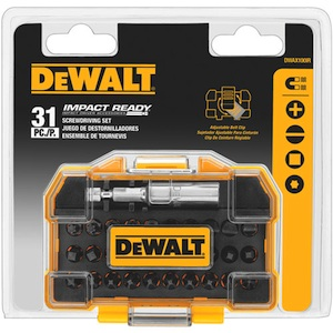 The DEWALT DWAX100IR includes the most common IMPACT READY bits in a screwdriving set. Tips include Phillips, slotted, square and Torx.