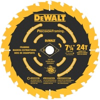 The teeth of Dewalt's new Precision Framing Blades are ground on the top, side and front face. This creates a sharper tip that helps to reduce the blade's cutting force.