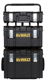 For serious haulage, look no further than the TOUGHSYSTEM storage solution. This unique system is comprised of three modular storage units (DWST08201, DWST08203 and DWST08204) and metal carrier (DWST08210) for the ultimate in jobsite organization.