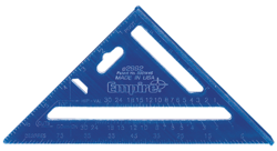 The Empire Level e2992 High Visibility Rafter Square's metallic blue is easier to read than traditional silver squares.