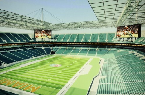 A rendering that shows what a new roof may look like from the inside of Dolphin Stadium. The upgrades being discussed included, new seats, a new lower bowl, and a roof over the seating area.